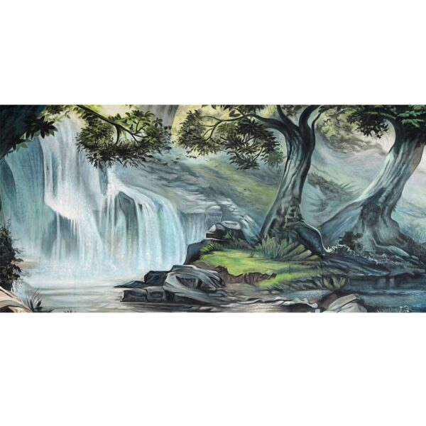Enchanted Forest with Waterfall Backdrop