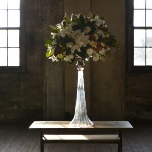 Glass and Chrome Vase with Flower Arrangement
