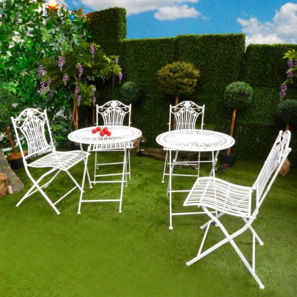 White Round Wrought Iron Garden Table