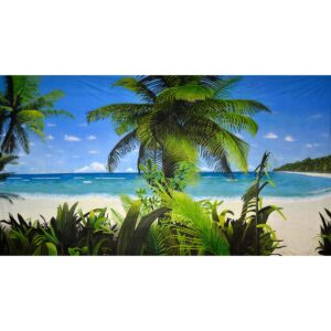 Tropical Beach with Palm Tree Painted Backdrop BD-0028