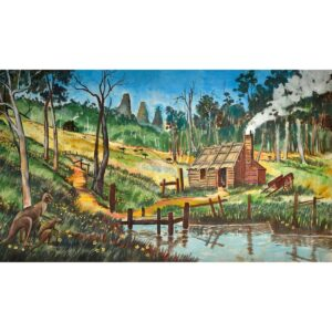Australian Bush with Hut Painted Backdrop BD-0100