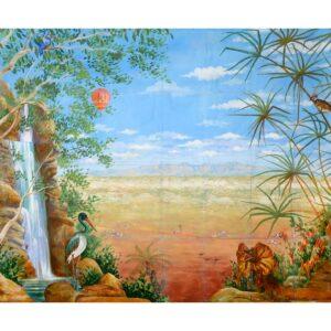 Australian Landscape with Waterfall Painted Backdrop BD-0102