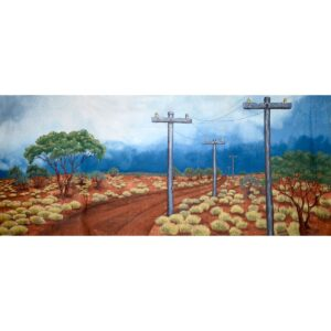 Australian Outback Road with Telegraph Poles Painted Backdrop BD-0104