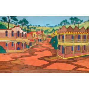 Australian Country Town Painted Backdrop BD-0107