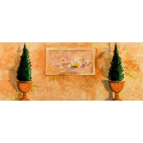 Greek Wall with 2 Planters Painted Backdrop BD-0183