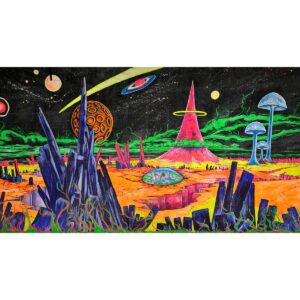 Cartoon Alien Planet Painted Backdrop BD-0238