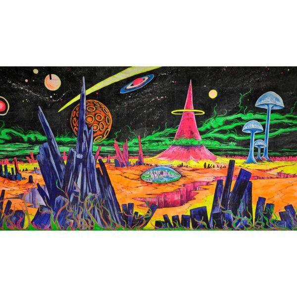 Cartoon Alien Planet Painted Backdrop BD-0238