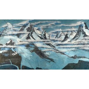 Alps with Snow and Clouds Painted Backdrop BD-0263