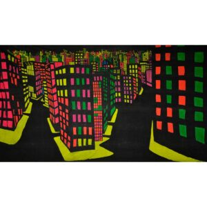 Fluorescent City Painted Backdrop BD-0283