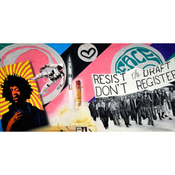 """60s Montage """"Resist the Draft"""" Painted Backdrop BD-0481"""