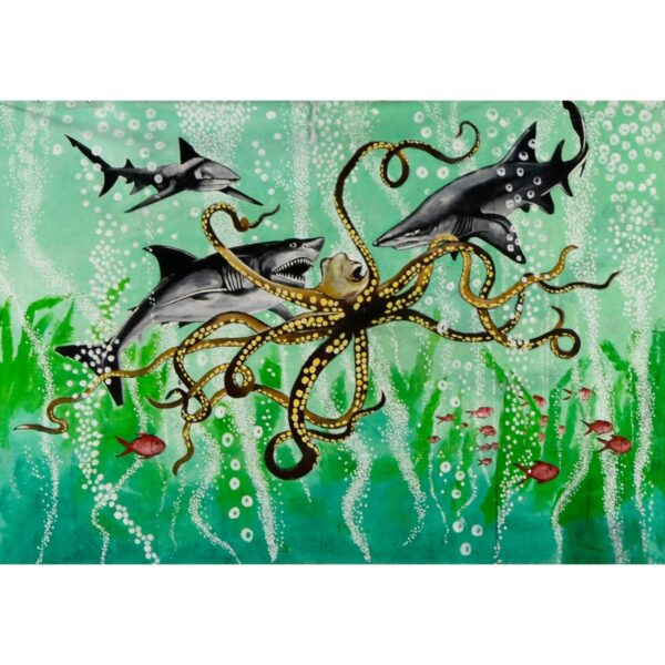 Sharks Attacking Octopus Backdrop BD-0600