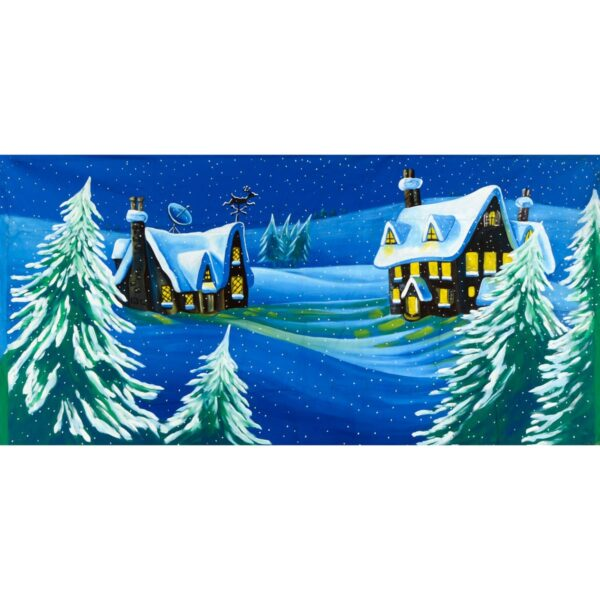 Snow Covered Houses Painted Backdrop BD-0610