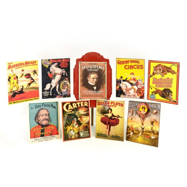 Vintage Circus - Poster on Decorative Wooden Easel - 9 Posters Available