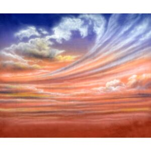 Pink and Blue Sky with Clouds Painted Backdrop BD-0013