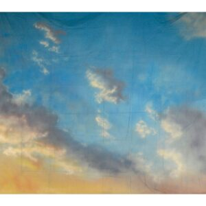 Blue Sky with yellow Clouds Painted Backdrop BD-0017