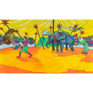 Circus Lion Tamer Painted Backdrop BD-0052