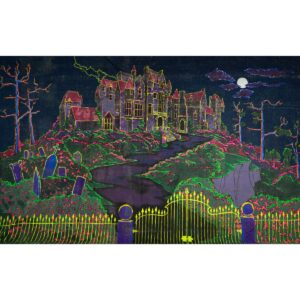 Haunted House on Hill Painted Backdrop BD-0204