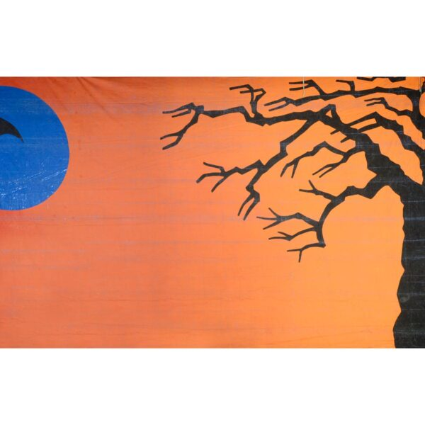 Halloween Blue Moon and Bat Painted Backdrop BD-0205