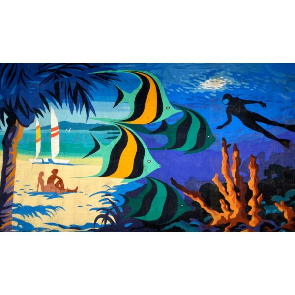 Tropical Beach Underwater Montage Painted Backdrop BD-0603