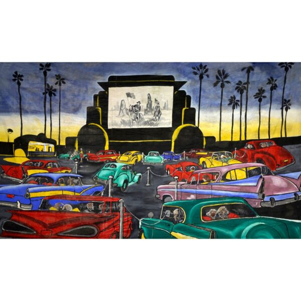 1950s Drive-in Theatre Painted Backdrop BD-0644