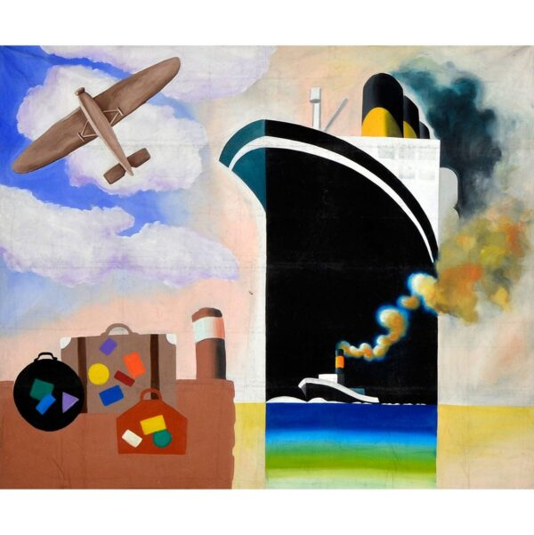 Art Deco Travel Montage Painted Backdrop BD-0702