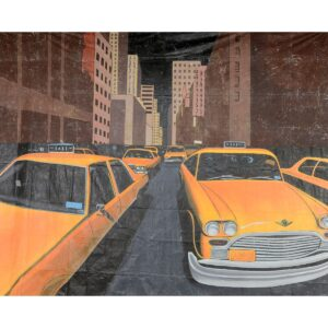 Taxis on Street Painted Backdrop BD-0725