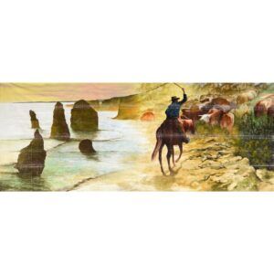 Australian Landscape with Drover Painted Backdrop BD-0911