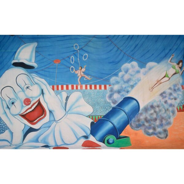Circus Clown and Cannon Painted Backdrop BD-0054