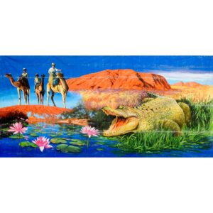 Uluru with Croc Montage Painted Backdrop BD-0912
