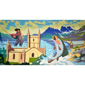Fishing Montage Painted Backdrop BD-0917