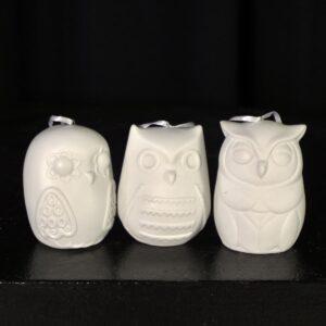 3 White Christmas Owl Ornaments