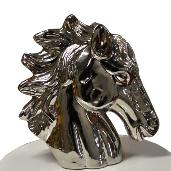 Chrome Horse Head Table Centrepiece