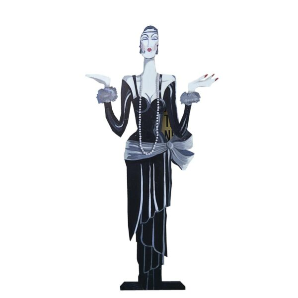 Cutout - Flapper with Long Pearl Necklace