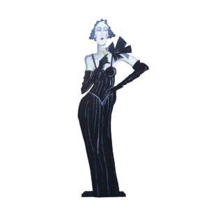 Cutout - Flapper in Black Dress Holding Glass