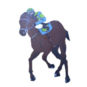 Cutout - Racehorse Blue and Green Jockey
