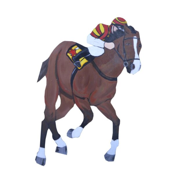 Cutout - Racehorse with Red and Yellow Jockey