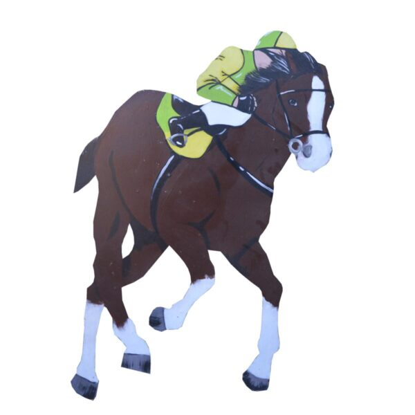 Cutout - Racehorse with Green and Yellow Jockey
