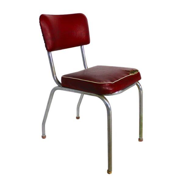 1950s Red Vinyl Metal Chair
