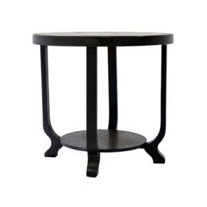 Circular wooden coffee table