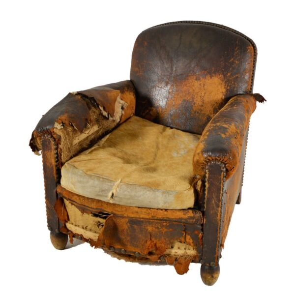 Worn Rustic Armchair, brown tonal leather