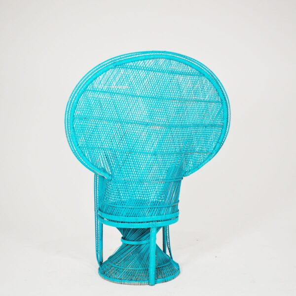 Chair, high back cane in turquoise-18248