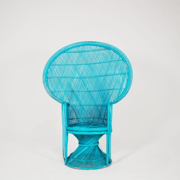 Chair, high back cane in turquoise-0