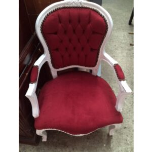 Ornate French Red and White Chairs-0