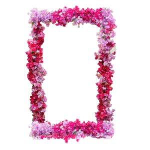 Floral Frame, pink and purple-0