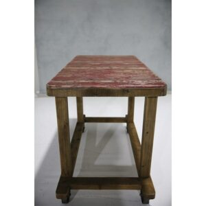 Cart 22: Red Rustic Timber Cart with footrest-0