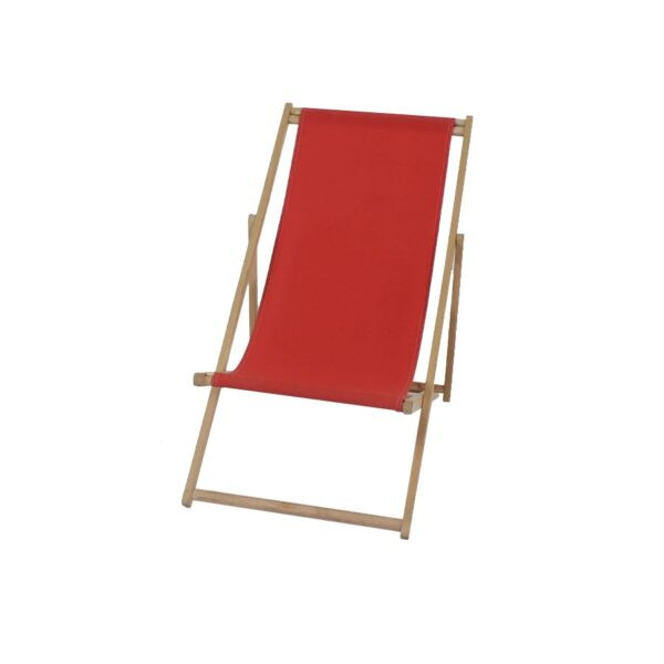 Deck Chair, Peach, light wood frame-0