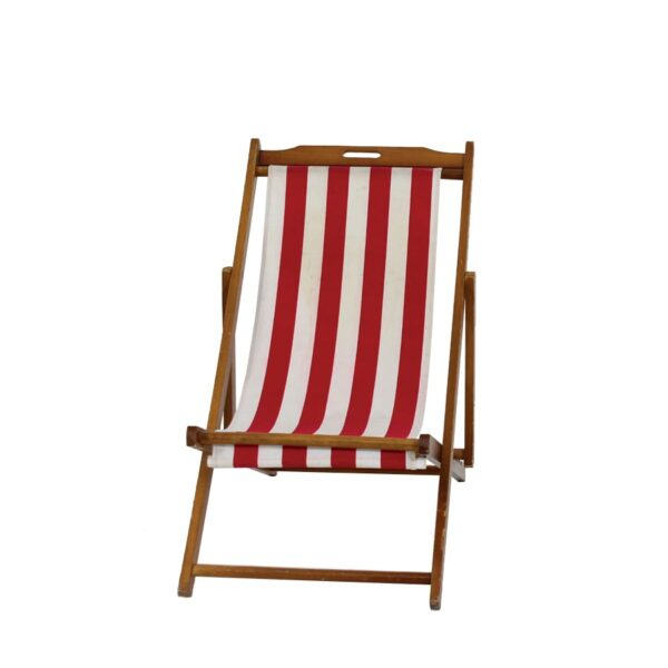 Deck Chair - White with Red Stripe, Brown Frame-0