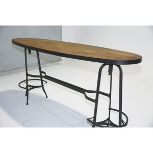 Elliptical Timber Bar with black metal frame -0