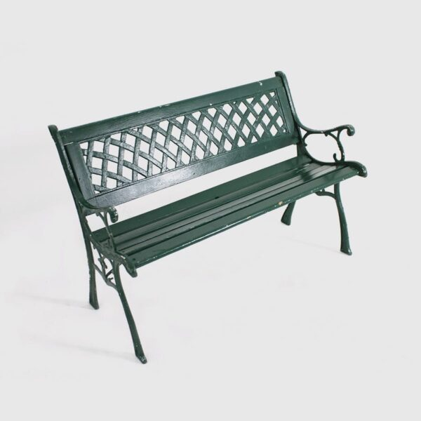 Green Wooden Park Bench with cast iron detail-0