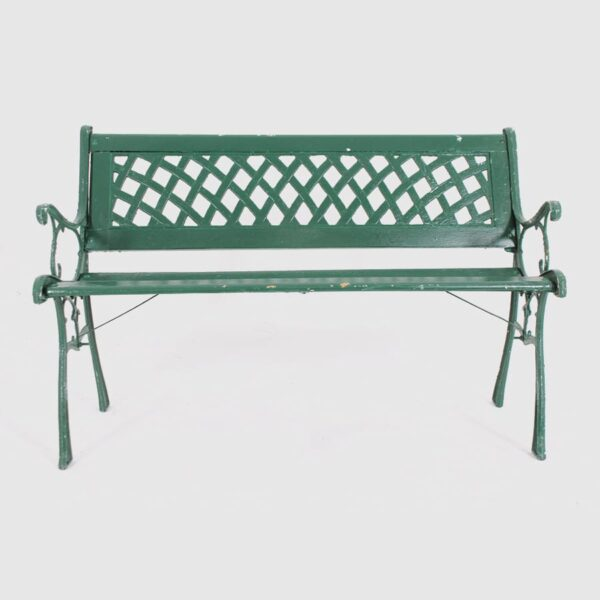 Green Wooden Park Bench with cast iron detail-18667